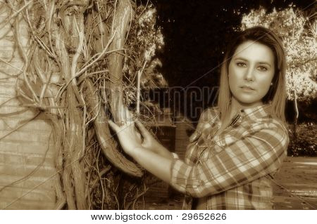 By a tree in sepia