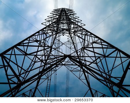 Silhouette Front View Of High Voltage Tower