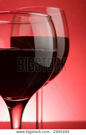 Glasses Of Red Wine Close-Up