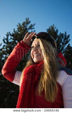Woman In Winter Sport Wear Looking At The Horizon
