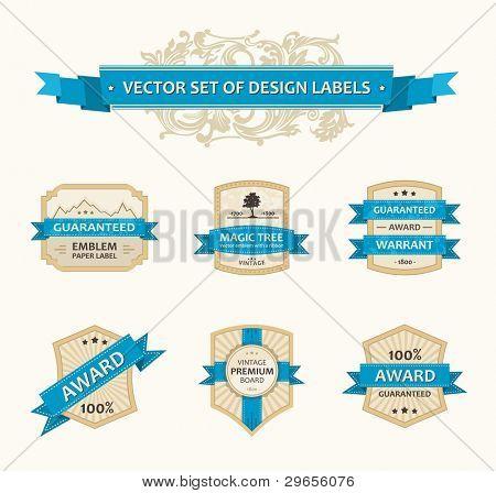 Vector set vintage ornate decor elements. ornaments ribbon blue labels illustration