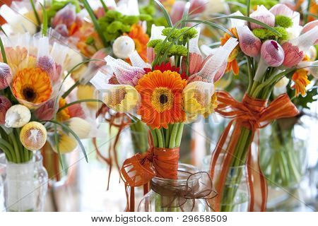 Orange gerber flower bouquet