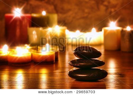 Symbolic Zen Stones Cairn And Meditation Candles