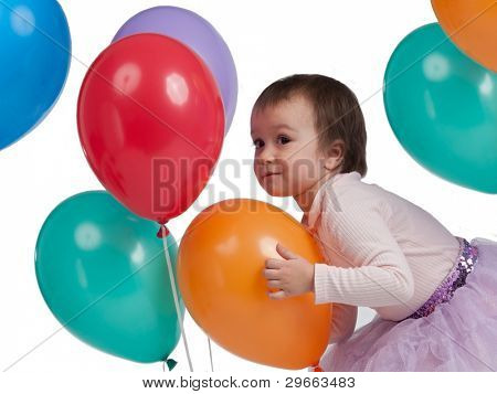 Little baby with many colorful balloons, isolated