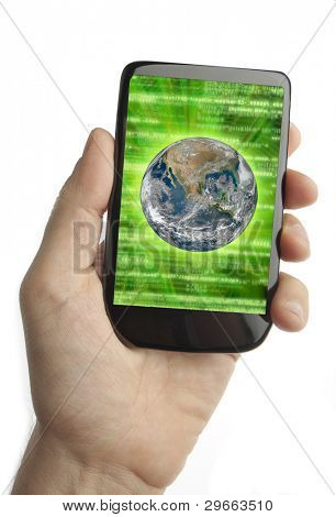 Cell phone with binary code and earth on the screen (original design)