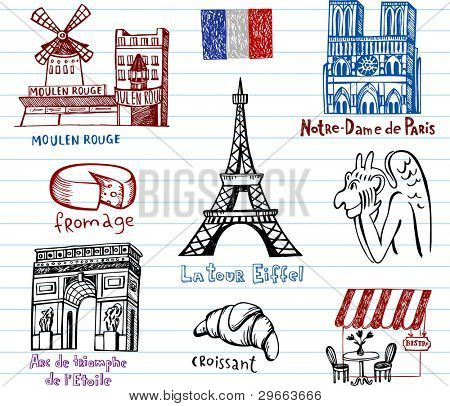 Symbols of France in simple drawing style.
