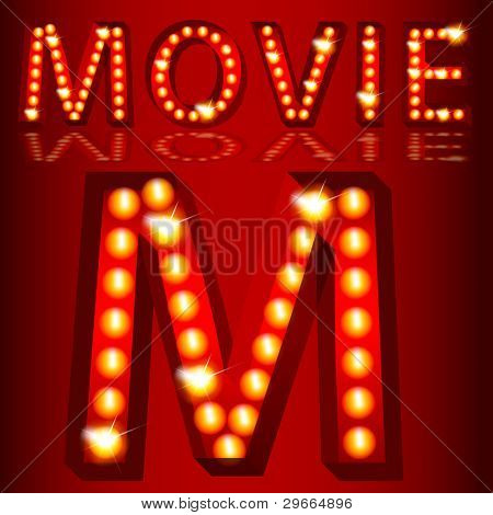 An image of a theatrical lights movie text.