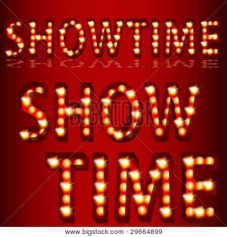 An image of a theatrical lights showtime text.