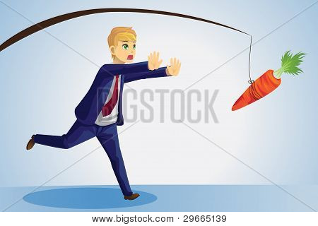 Businessman Reaching For Carrot
