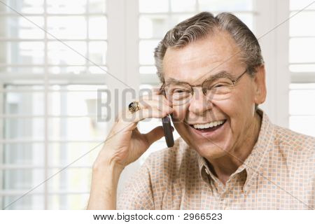 Mature Man On Cellphone.
