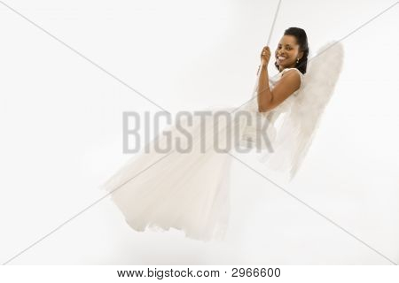 Angelic Bride On Swing.