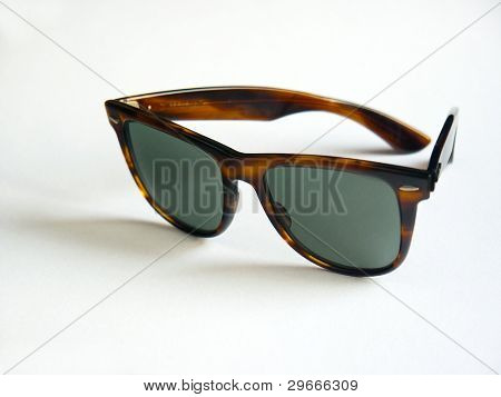 Retro wayfarer sunglasses isolated on white background.