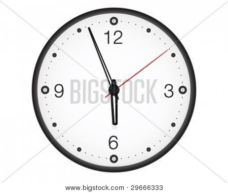 Office wall clock. High-detailed vector artwork.