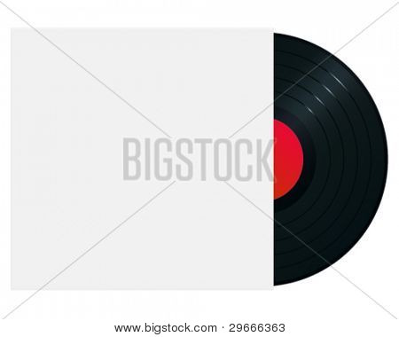 Gramophone record in sleeve. High-detailed vector artwork.