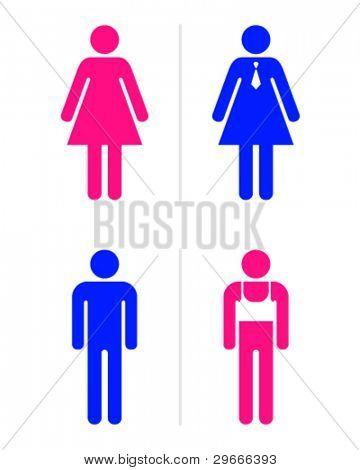 Joke toilet signs for gay bar. Vector.