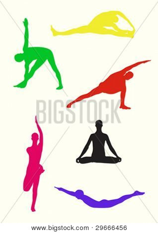 Vector collection of colored yoga poses.