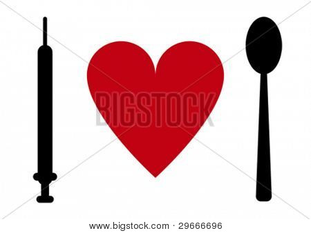 Syringe, heart, spoon.