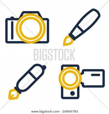 Photo camera, paintbrush, pen and video camera icons.