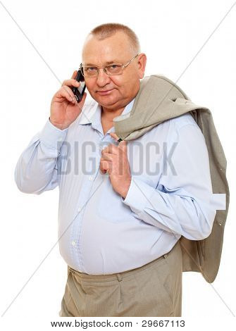 Confident senior businessman talking by cell phone isolated on a white background. Mask included