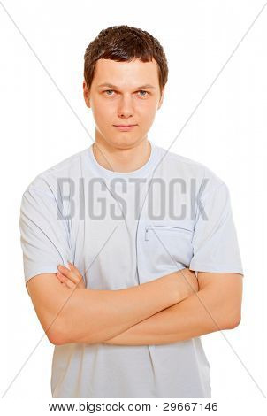 Sedate handsome man wearing white t-shirt over isolated background