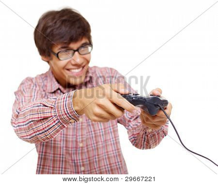 poster of Happy young man in glasses playing video game with joystick over isolated background, focus on joyst