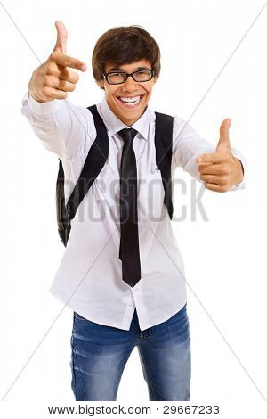 Smiling handsome young man in glasses with back pack showing thumbs up over isolated background. Mask included