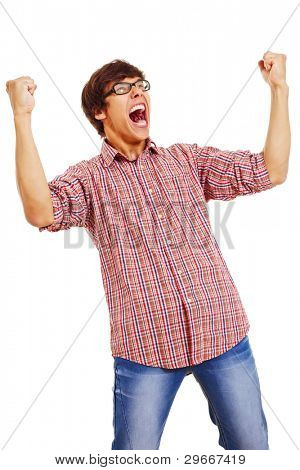 Happy young man wearing checked shirt and jeans in winning pose isolated on white background. Mask included