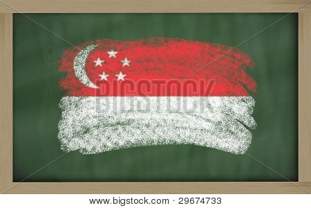National Flag Of Singapore On Blackboard Painted With Chalk