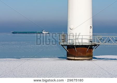 Detail Of An Offshore Windturbine In A Frozen Sea