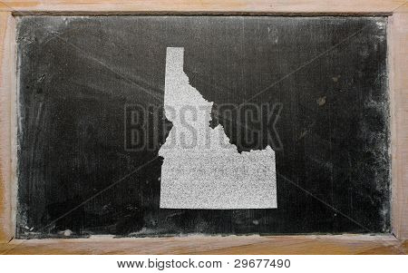 Outline Map Of Us State Of Idaho On Blackboard