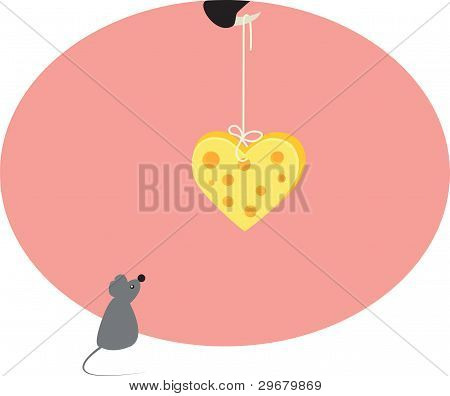 mouse and heart from cheese