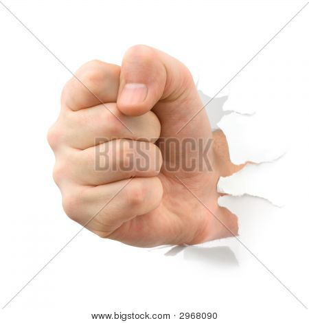 Fist Punching Thru Paper