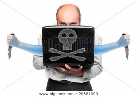 Funny picture of a attacking hacker with his laptop.