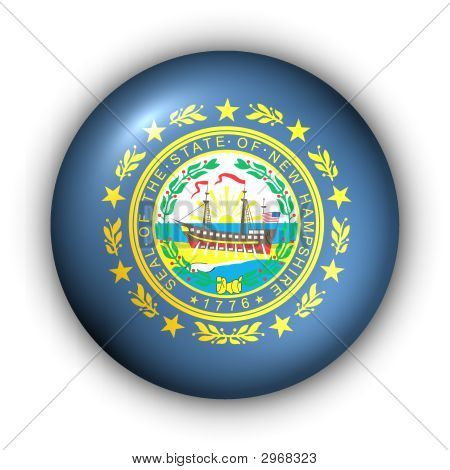 Round Button Usa State Flag Of New Hampshire