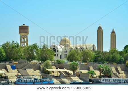 Aswan, Egypt - Archangel Michael's Coptic Orthodox Cathedral - view from Nile