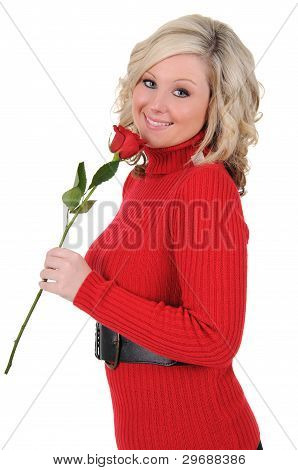 Young Woman Holding A Single Rose