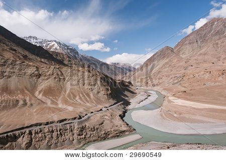 Confluence of Sindhu (Indus) and Zanskar Rivers near Leh, Ladakh