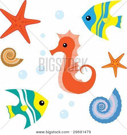 Cartoon sea life conjunto 1