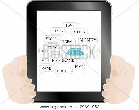 Tablet Pc With Seo Sign And Tags On Optimization Theme