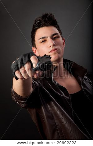 Aiming. Serious Man With A Gun