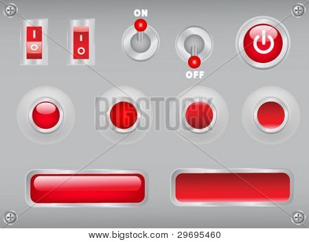 buttons, toggles, switches on metal plate with screws