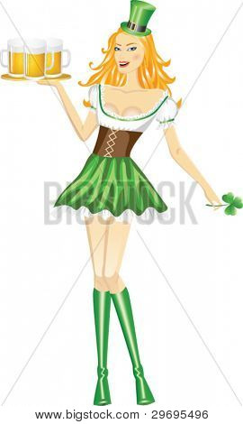 Cute girl serving Saint Patrick's Day