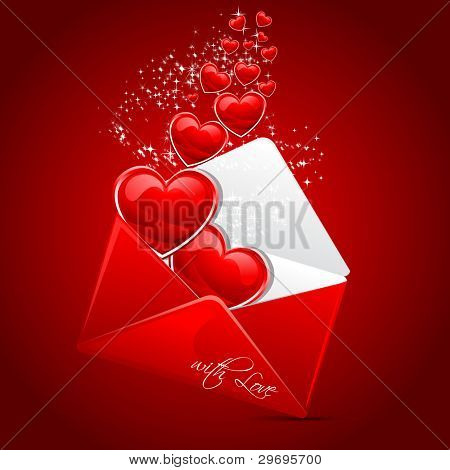 illustration of heart coming out of envelope as love message