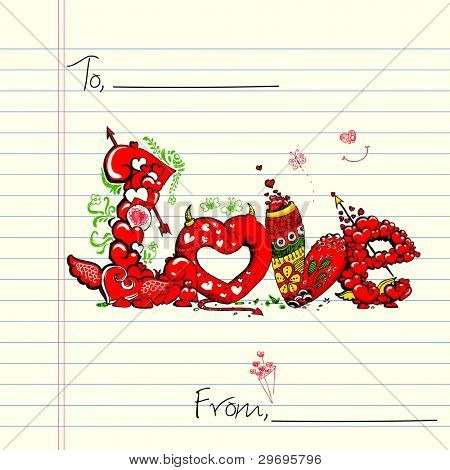 illustration of colorful love card in doodle style