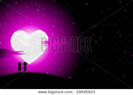 illustration of boy and girl walking in romantic night with heart shaped moon