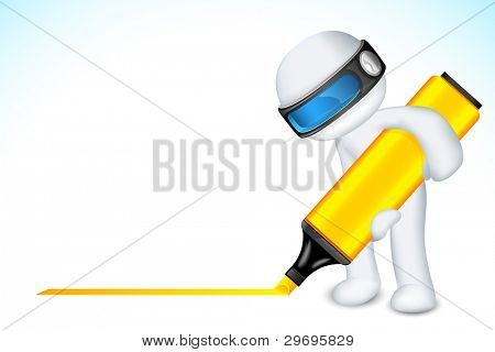 illustration of 3d man writing with marker in vector fully scalable