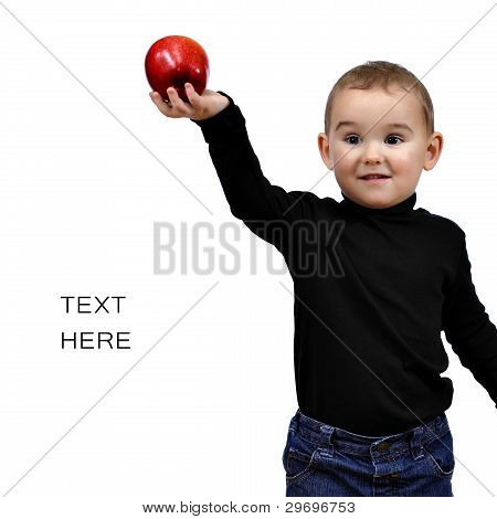 To Be Like Jobs. Kid, Boy With Red Apple