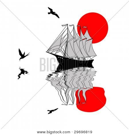 sailfish silhouette on white background, vector illustration