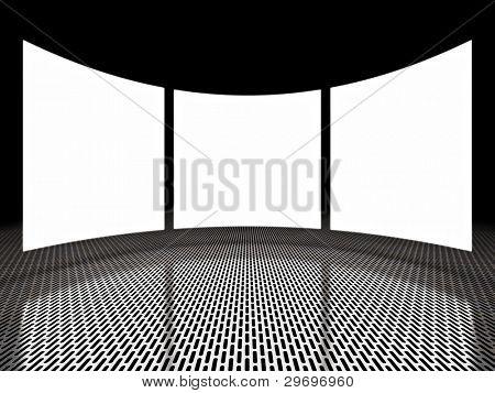 leere Licht Bildschirmanzeigen um schwarzen Raum