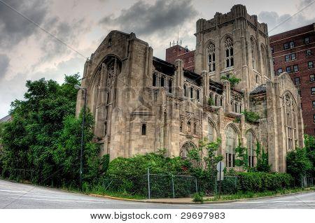 Abandoned City Methodist Church. Exterior view. Gary Indiana.